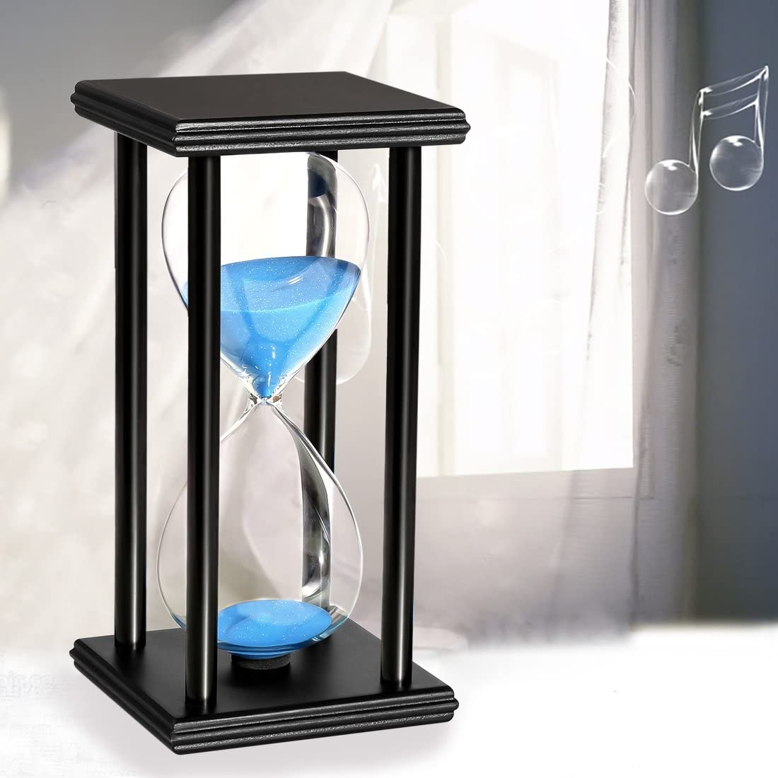 BOJIN 10 Minute Hourglass White Sand Timer Wooden Black Stand Hourglass Clock for Office Kitchen Decor Home White Sand