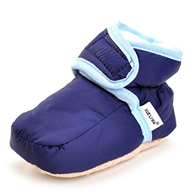 Baby Shoes 6 Months Enteer Infant Snow Boots Premium Soft Sole Anti-Slip Warm Winter Prewalker Toddler Boots (3-6months, navy)