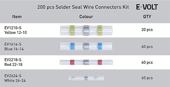 E-VOLT 200 PCS Solder Seal Wire Connectors Low Temp Soldering Heat Shrink Butt