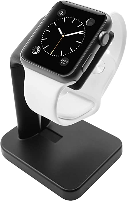 Macally Stand for iWatch - The Perfect Nightstand Charging Dock Station - Compatible with Smartwatch Series 6, Series 5, Series 4, Series 3, Series 2, Series 1 (44mm, 42mm, 40mm, 38mm) (Black)