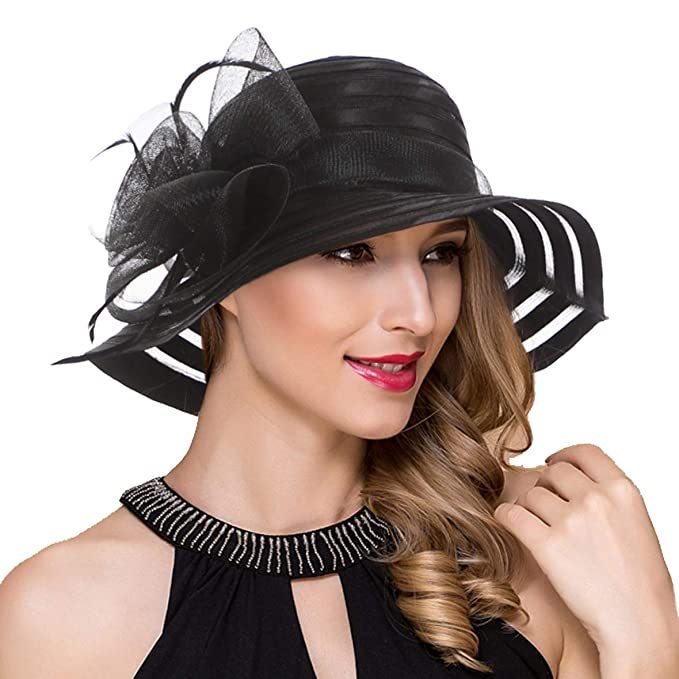 5260cd2af7e29 Womens Satin Kentucky Derby Church Wedding Sun Hats Fascinator Wide Brim  Tea Party Bucket Hat (