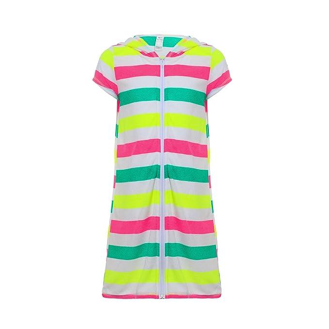 6bdbe90692 Girls Boys Short Sleeve Swim Robe Beach Cover Up with Zipper Bathrobe  Colorful Stripes 6-