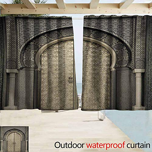 (AndyTours Outdoor Blackout Curtains,Moroccan Aged Gate Geometric Pattern Doorway Design Entrance Architectural Oriental Style,Rod Pocket Energy Efficient Thermal Insulated,W55x63L Inches,Sepia)