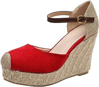 HIRIRI Women Flock Wedges High Heel Round Toe Casual Shoes Ankle Outdoor Sandals