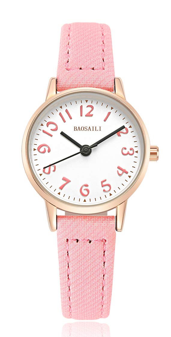BAOSAILI Watch for Girls Easy Reading Times Teacher Leather Kids Watches