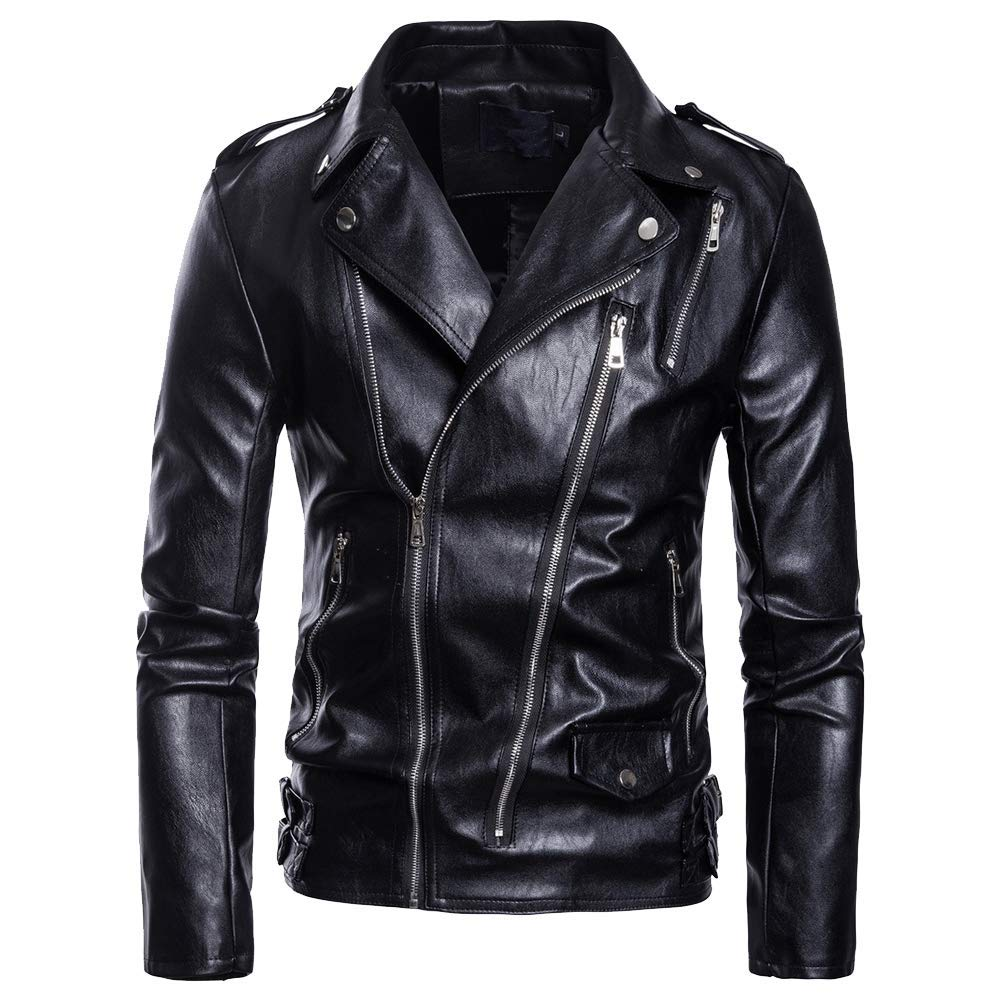 LINGMIN Men's Classic Faux Leather Biker Jacket Zip Up Police Moto Jacket with Belt M_0907LeatherCoat09