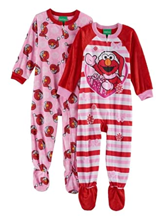 Amazon.com  Elmo Fleece Footed Pajama Toddler Girls (4T)  Clothing 0d571e2fd