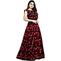 Red Lion Enterprise Women's Semi-stitched Mono Net Butterfly Pattern Long Gown(Free Size)