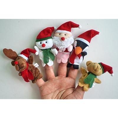 5x Marionettes à doigts de Noël. 5 modèles par set: Renne, Bonhomme de neige, Père Noël, Pingouin et Ours en peluche.