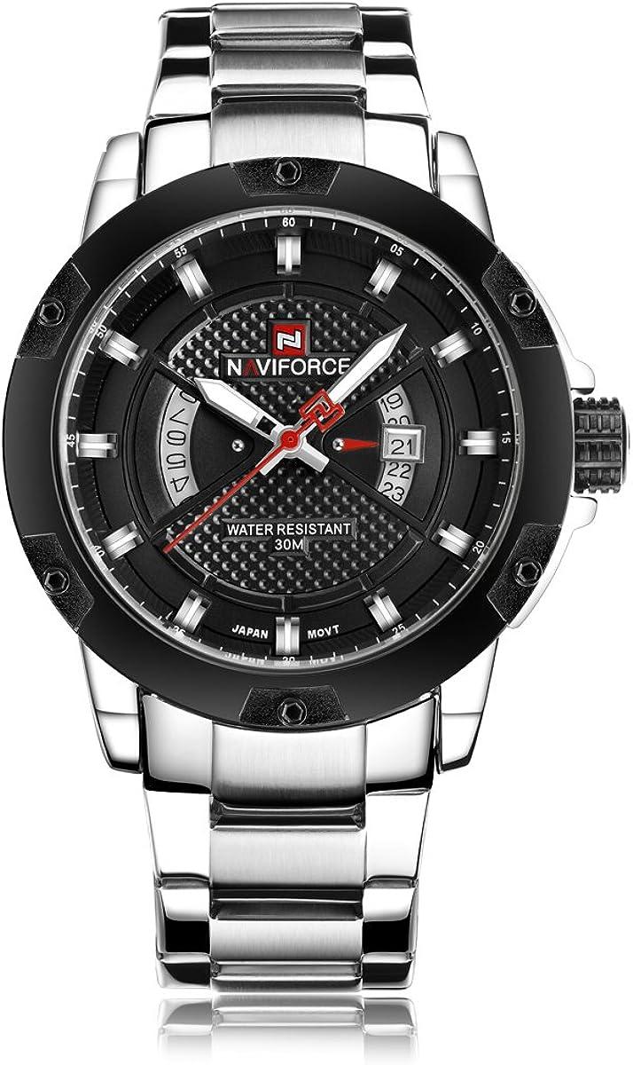 Reloj de pulsera para hombres Naviforce de moda militar, analógico Quartz, de acero inoxidable, con visualización de calendario y día, resistencia al agua 30m (plata/negro)