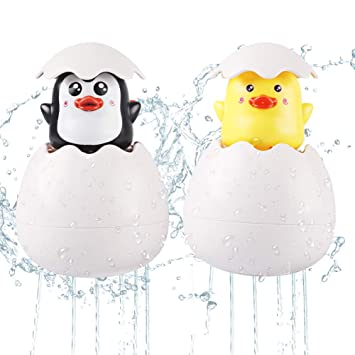 AINOLWAY Baby Bath Toys Rain Cloud Squirt Egg Bathtub Water Toys with Hidden Duck Penguin Pool Floating Toys for Boys Girls Kids Toddlers Yellow Duck
