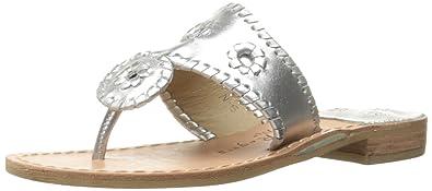95db18f1f138 Jack Rogers Women s Hamptons Narrow Dress Sandal Silver 5.5 ...