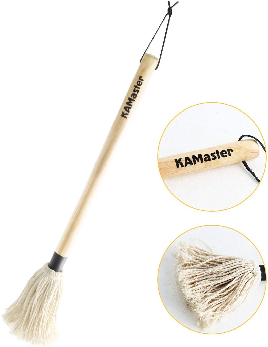 KAMaster 18 Inch Grill Basting Mop Wooden Long Handle Perfect for Roasting,Grilling,Smoking Big Green Egg Accessories Food Brush Mop for BBQ Grilling Smoking Steak