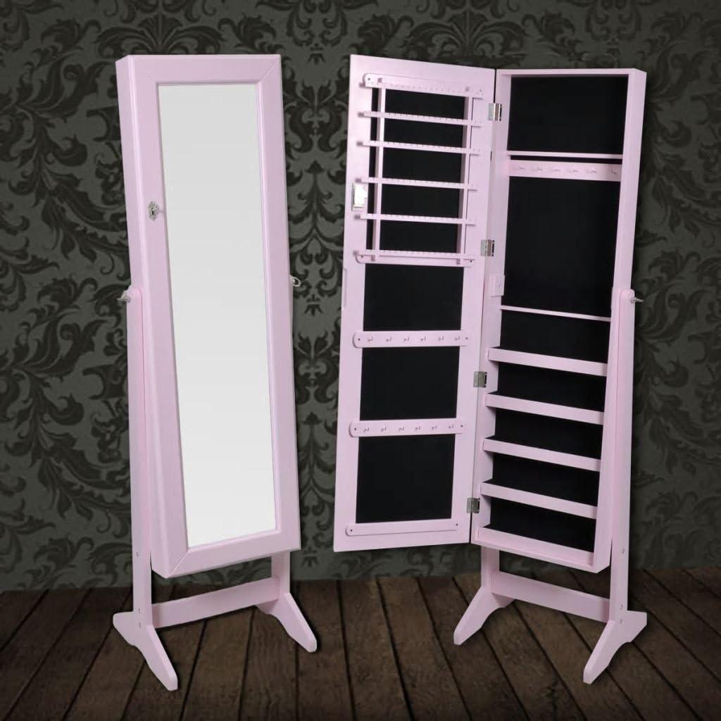 Festnight Guardajoyas Joyero de Pie Con Espejo de /Águlo Ajustable con Patas Color Rosa