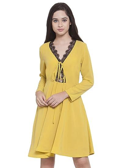 Martini Women Yellow with Black Scallop Lace Detail Skater Dress (Yellow fe5e11547e