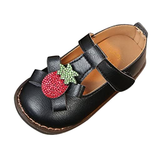 Minisoya Children Kids Baby Girls Cute Strawberry Crystal Princess Moccasins Casual Single Shoes Bowknot Party Shoes