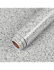 "LaCheery Slate Stone Grey Granite Contact Paper Decorative Peel and Stick Wallpaper Terrazzo Contact Paper for Countertops Waterproof Removable Granite Wallpaper for Kitchen Counters Worktop 15.8""x80"""