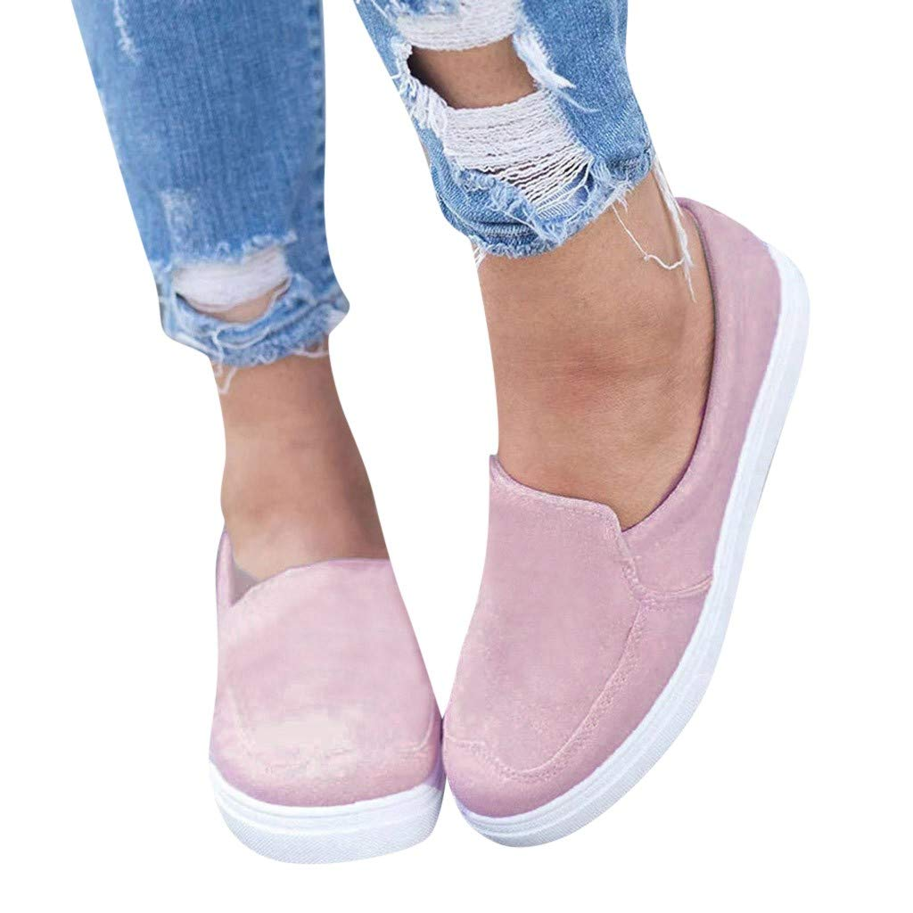 2019 New Women's Shoe Flat Low Heel Soft Solid Flock Single Shoes Shallow Casual Outdoors Sneakers Single Shoes (Pink, 6.5 M US)