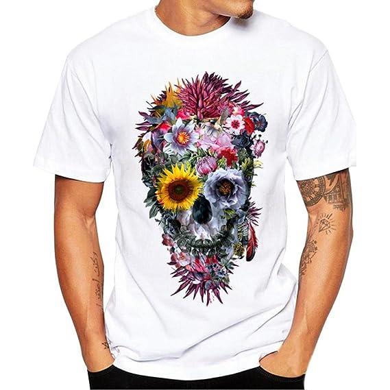 K-youth Camiseta Hombre, Cráneo Impresión tee Cuello Redondo Tops Camisa Ropa Hombre Deportiva