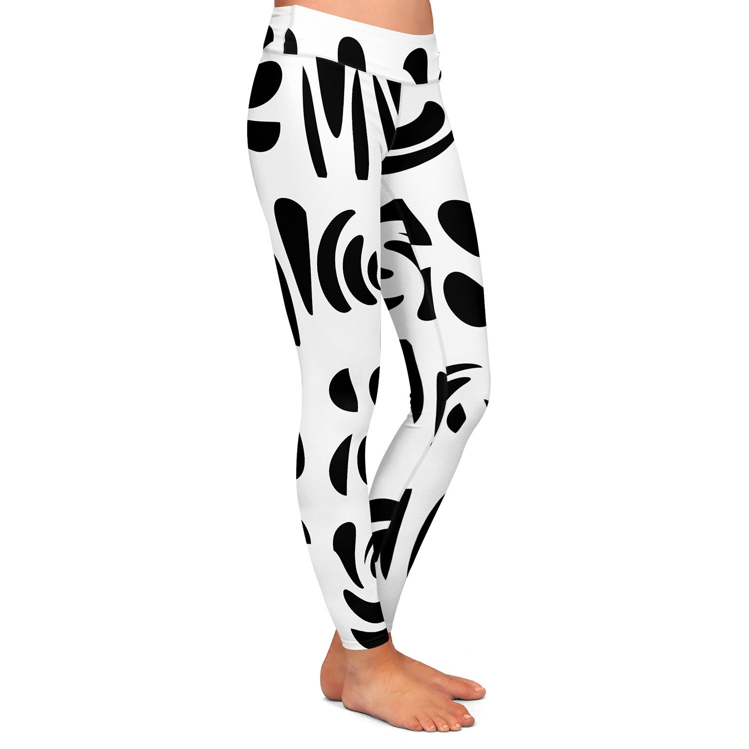 Athletic Yoga Leggings from DiaNoche Designs by Ruth Palmer Fun Black White
