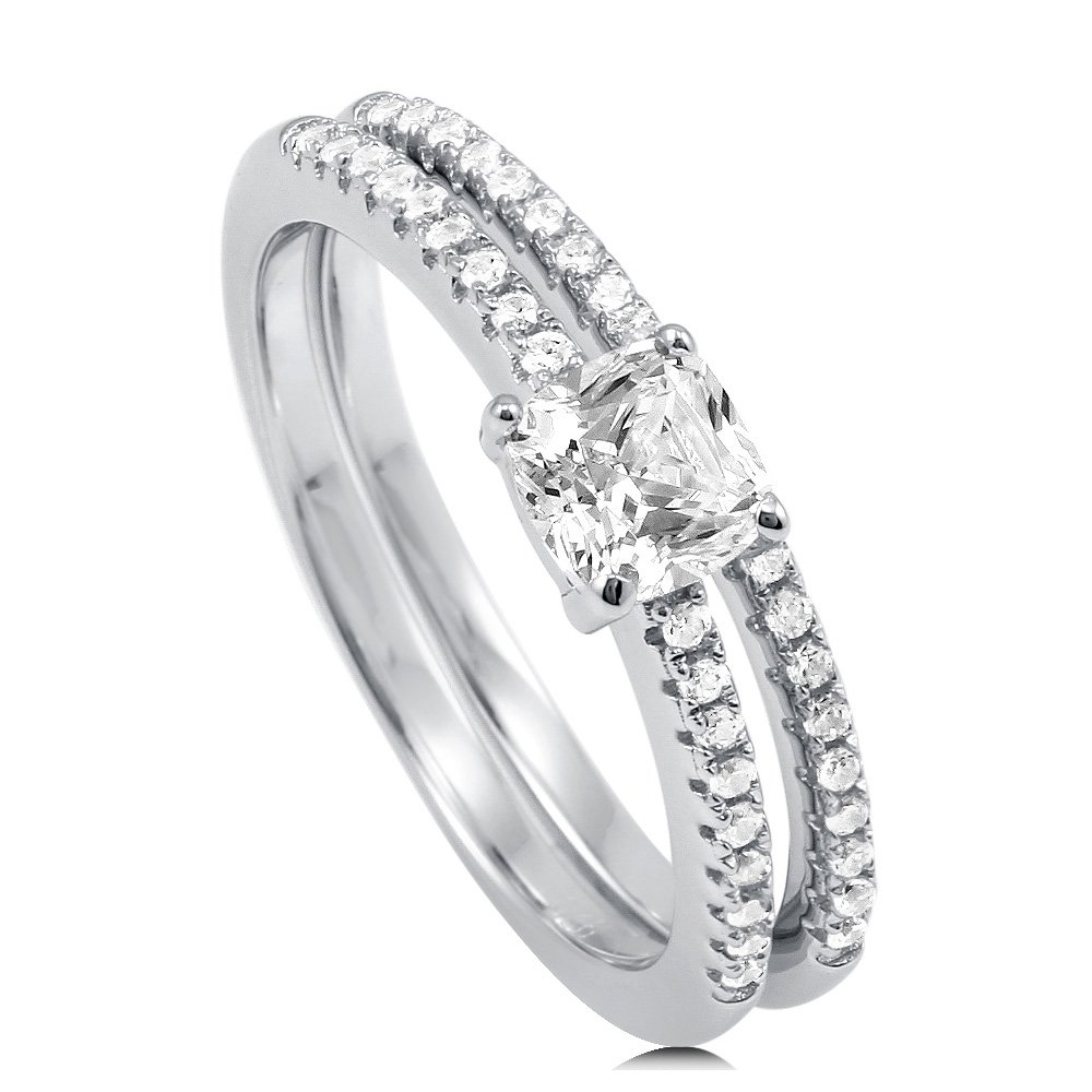 BERRICLE Rhodium Plated Sterling Silver Cubic Zirconia CZ Solitaire Engagement Ring Set Size 9