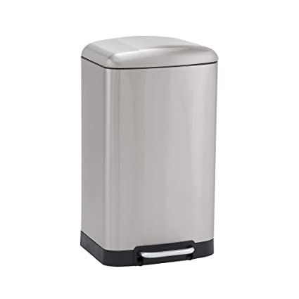 Design Trend Rectangular Stainless Steel Step Trash Can with Soft Close Lid  | 40 Liter / 10.5 Gallon, Silver