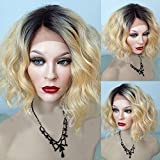 Sunwell Brazilian Human Hair Wig Short Wavy Bob Lace Front Wig #1B/#613 Ombre Platinum Blonde,12 inch 130% Density