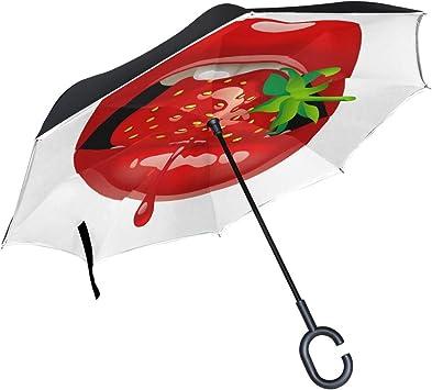 Paraguas inverso invertido de Doble Capa para niños Labios Rojos ...