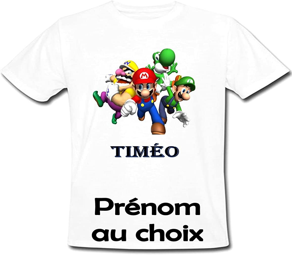 GRAVOPHOTO Tshirt personnalisé Mario Bros prénom et Taille au Choix
