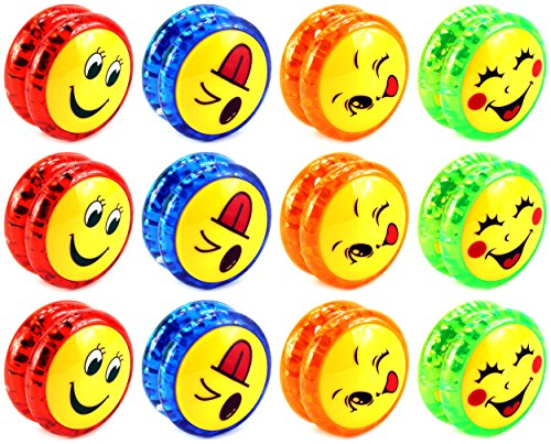 Set of 12 Super Yoyo 'Smiley Faces' Light Up Children's Kid's Toy Yoyo (Colors May Vary)