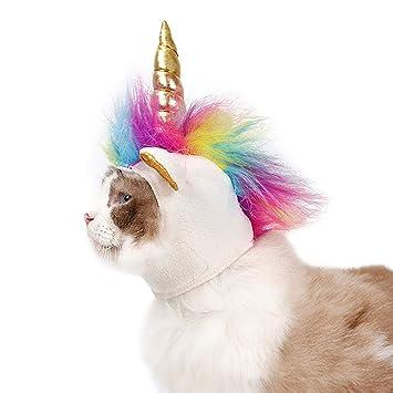 Ynredee - Gorro de Unicornio para Perros y Gatos pequeños, diseño de Unicornio para Mascotas, Sombrero Decorativo para Halloween, Suministros para Fiestas: ...