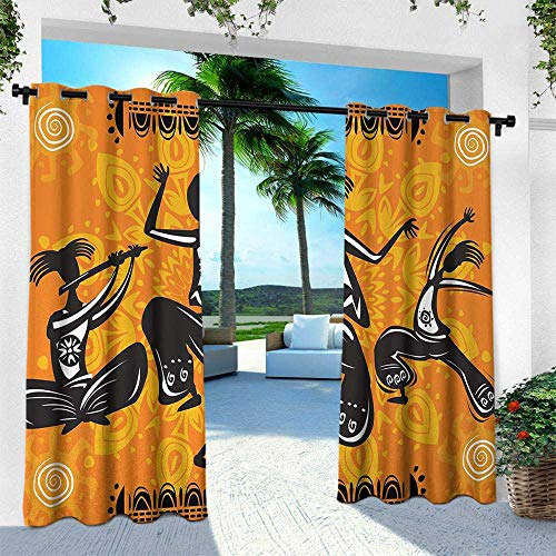 Hengshu African, Thermal Insulated Water Repellent Drape for Balcony,Native African Dancer Figures with Poly Rhythm Total Body Articulations Design, W84 x L84 Inch, Orange Black