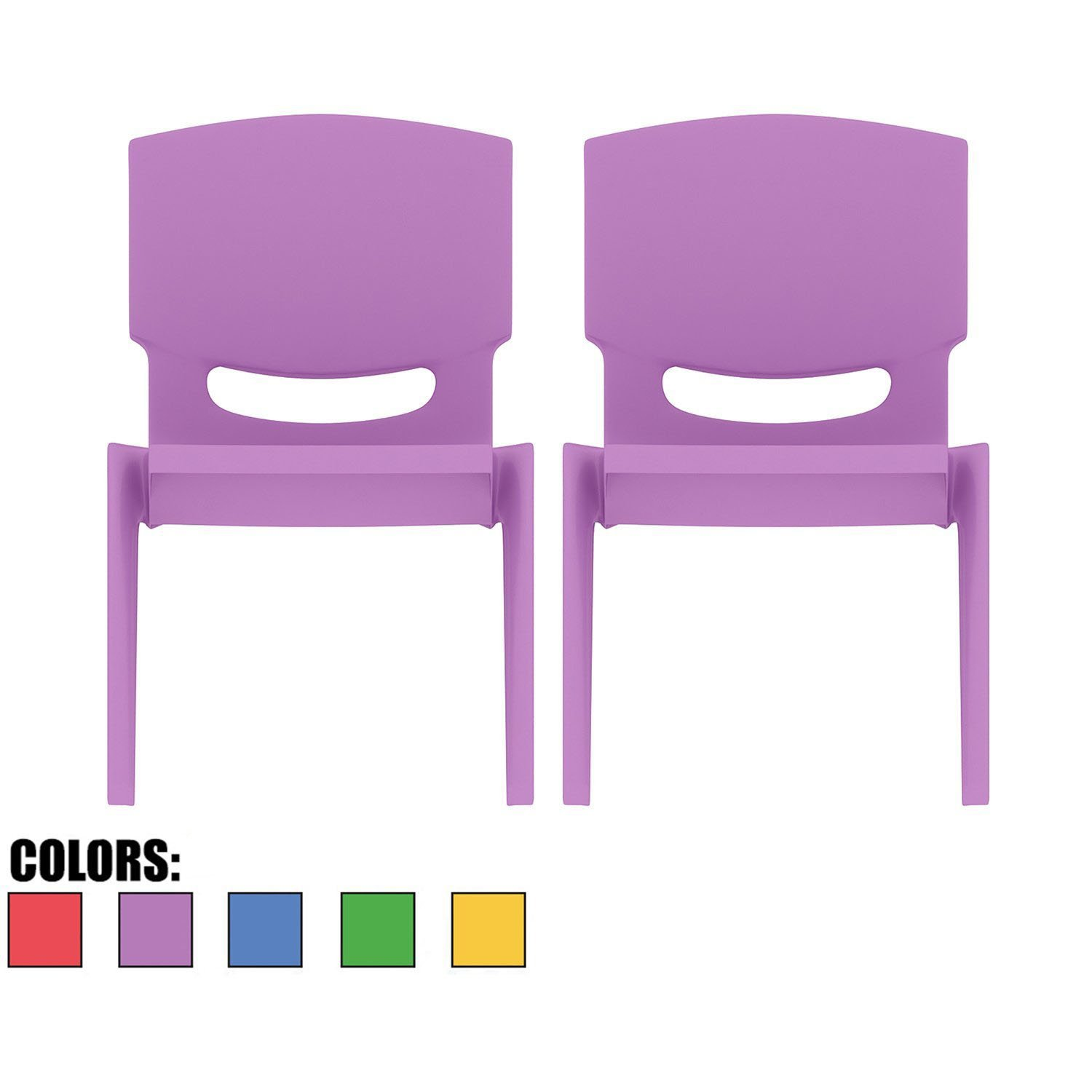 2xhome - Set of Two (2) - Purple - Kids Size Plastic Side Chair 10'' Seat Height Purple Childs Chair Childrens Room School Chairs No Arm Arms Armless Molded Plastic Seat Stackable