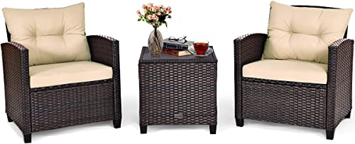 Tangkula 3 Pieces Patio Furniture Set