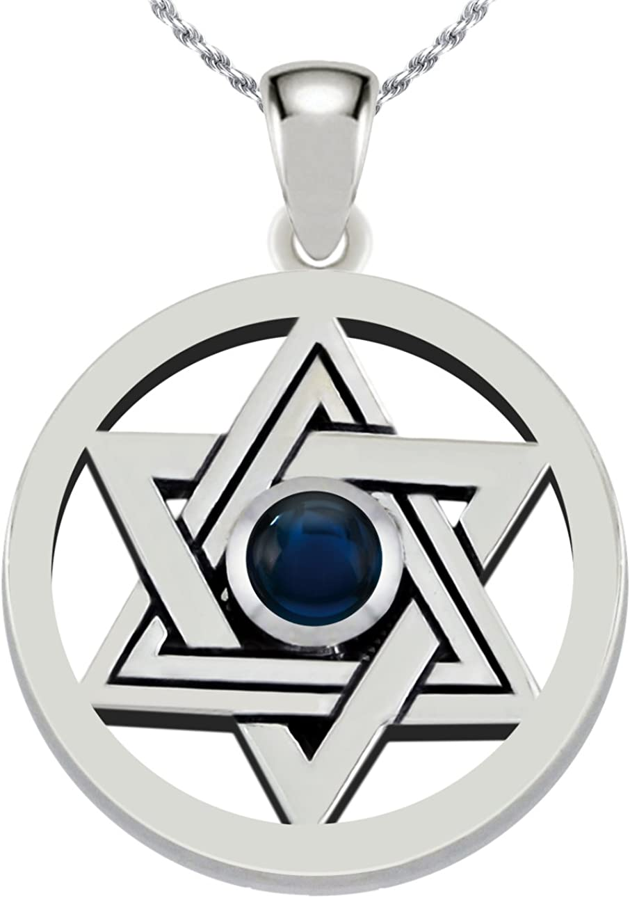 US Jewels And Gems 0.925 Sterling Silver Simulated Imitation Lapis Stone Jewish Star of David Pendant Necklace