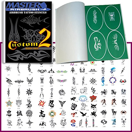 Master Airbrush Brand Airbrush Tattoo Stencils Set Book #2 Reuseable Tattoo Template Set, Book Contains 100 Unique Stencil Designs, All Patterns Come on Vinyl Sheets with a Self Adhesive Backing. ()
