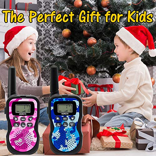 Veroyi Walkie Talkie for Kids, Boys and Girls, 22 Channels 2 Way Radio Toys with Backlit LCD Display and Flashlight for Indoor Outdoor Activity (2-Pack) by Veroyi (Image #6)