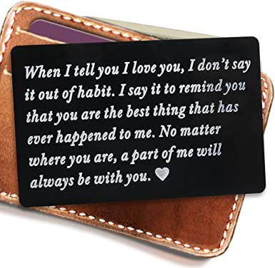 Engraved Metal Card Insert Wallet Love Note Anniversary Gifts
