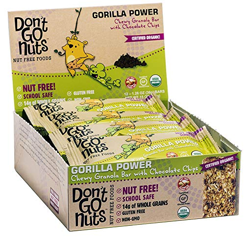 Don't Go Nuts Nut-Free Organic Snack Bars, Gorilla Power, 12 Count, Chewy Granola Bar with Chocolate - Free Bar Snack