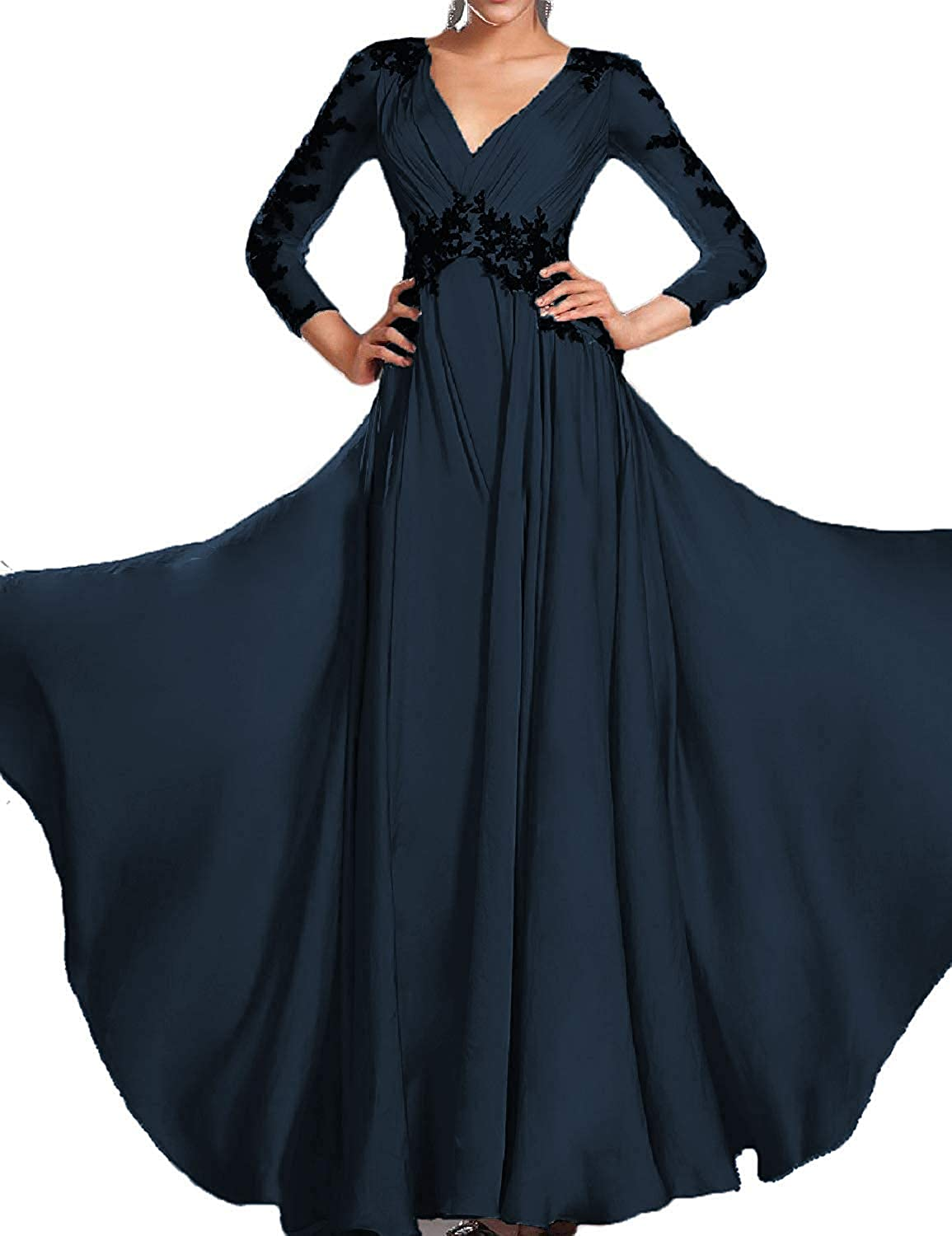 Dark Navy ASBridal Prom Dresses with Long Sleeves Formal Evening Gowns for Women Plus Size Prom Gown Lace Evening Dress