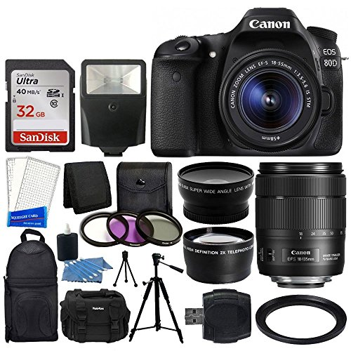 Canon EOS 80D DSLR Camera + Canon EF-S 18-135mm is USM Lens + & 72mm 2X Lens & Wide Angle Lens + Slave Flash + 32GB Memory Card + 3 Piece Filter Set + Slave Flash + Accessory Backpack + Value Bundle For Sale