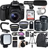 Canon EOS 80D DSLR Camera with Canon EF-S 18-55mm f/3.5-5.6 IS STM Lens + Canon EF-S 55-250mm f/4-5.6 IS STM Lens + Wide Angle Lens + 2x Telephoto Lens + New Video Bundle