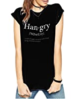 FV RELAY Women's Summer Han.gry Print T-Shirt Short Sleeve Tee Shirts Casual Tops