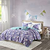 Cheap Purple Bedding Sets Urban Habitat Kids Lola Full/Queen Bedding for Girls Quilt Set - Purple, Aqua, Unicorns – 5 Piece Kids Girls Quilts – 100% Cotton Quilt Sets Coverlet