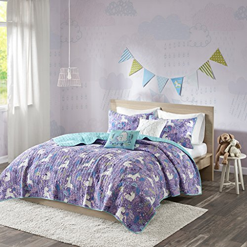 Urban Habitat Kids Lola Twin/Twin XL Bedding for Girls Quilt Set - Purple, Aqua, Unicorns – 4 Piece Kids Girls Quilts – 100% Cotton Quilt Sets Coverlet