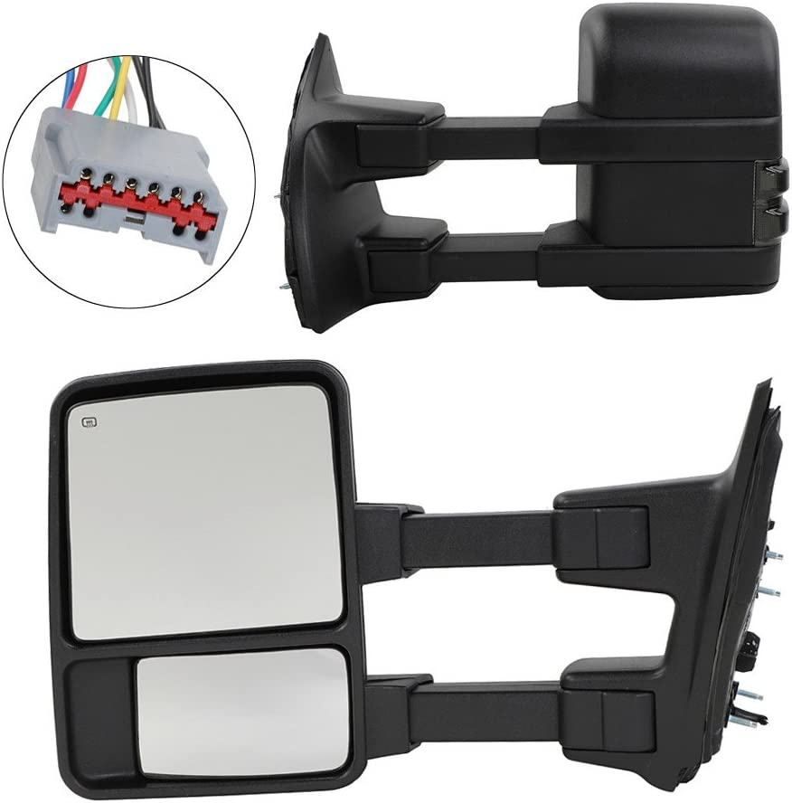 Amazon Com Motoos Upgrade Towing Mirrors Fit For 1999 2007 Ford F250 F350 F450 F550 Super Duty Tow Mirrors Pair Set Power Heated Glass With Led Smoke Signal Telescoping Pickup Truck Side View Mirrors