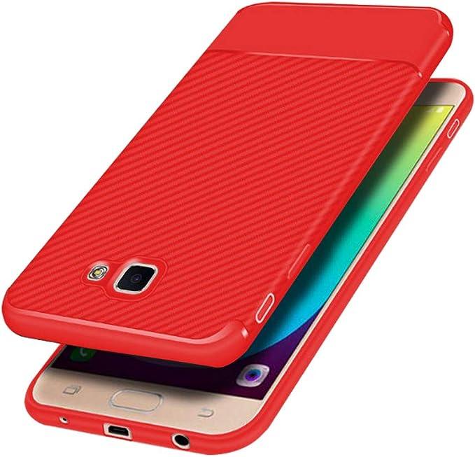 Ealab J5prime Coque Mat pour Samsung Galaxy J5 Prime étuis de téléphone de Luxe J 5 Primecase Coque Fin Ultra Mince Sansum Glalxy Bumper 12,7 cm Rouge