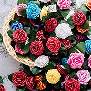 "Colorful Decor Rose Flowers 200Pcs 1.1"" Mini Artificial Roses DIY Stickers Wedding Favors Garden Wall Decorations Bridal Hair Clips Headbands Dress Gifts Package Embellishment 5"