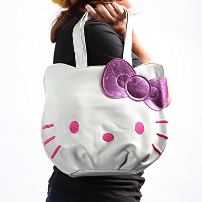 Hello Kitty White & Pink Face Tote Bag w/ Purple Bow delicate
