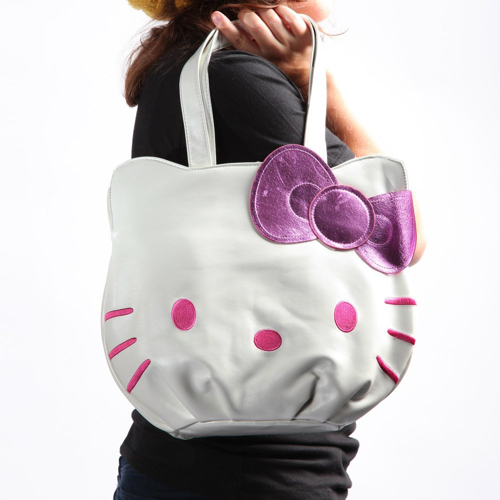 Hello Kittyホワイト&ピンク面トートバッグW /パープルBow B0043B6OIE